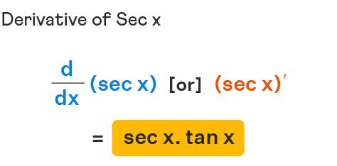 Derivative of Sec x